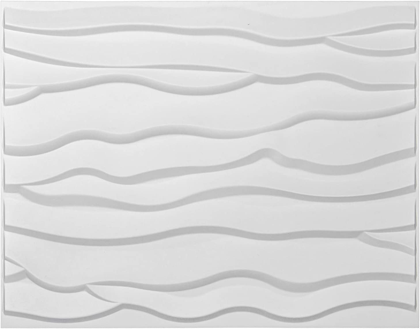Art3d Wave 3D Wall Panels, Primitive-White Pack of 6 Tiles 32 Sq.Ft(Plant Fiber)