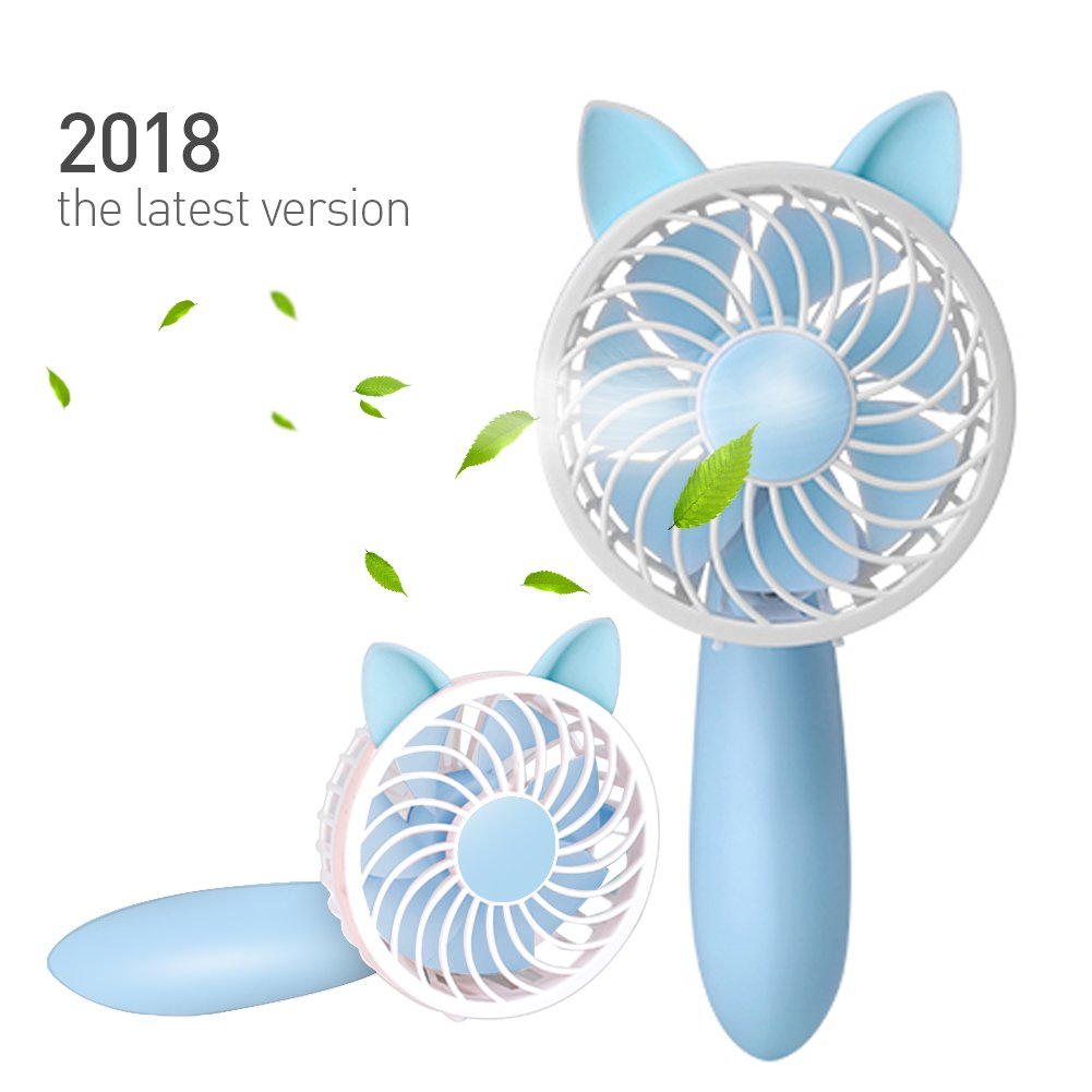 RioRand Rechargeable Handheld Fan with 7 Blades and 3 Power Settings Portable for Women Men Kids Baby Blue