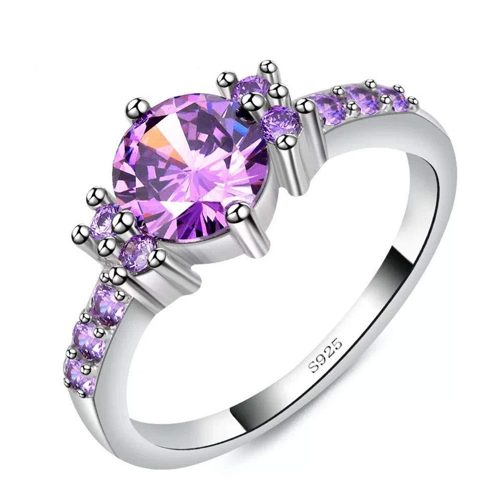 Vogzone Platinum Plated Created Purple Amethyst Womens Promise Ring