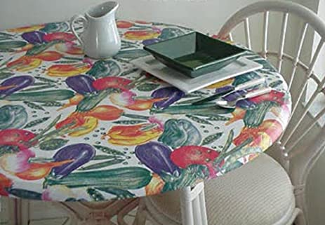 Amazoncom Fitted Elastic Edge Round Vinyl Tablecloth Table Cover