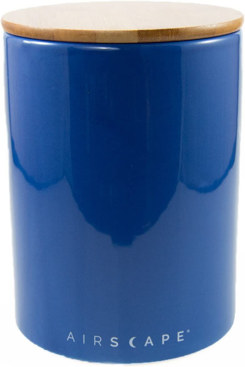 """Airscape Ceramic Coffee and Food Storage Canister, 7"""" Large - Patented Airtight Inner Lid Releases CO2 and Preserves Food Freshness - Glazed Ceramic with Bamboo Top - Cobalt Blue"""