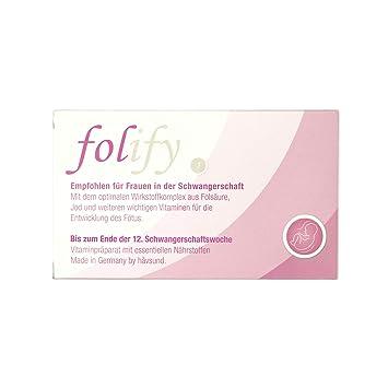 håvsund folify 1 - Nahrungsergänzung mit Folsäure bei Schwangerschaft - Vitamine B12, B6, D & Nährstoffe Jod, Magnesium - Her