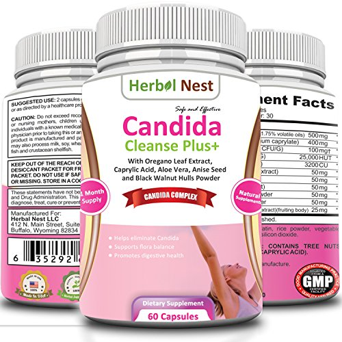 Candida Cleanse Plus+ - Natural cure for Yeast Infection treatment. Candida support known to reduce candida overgrowth, support intestinal flora balance & promote digestive health - 60 capsules