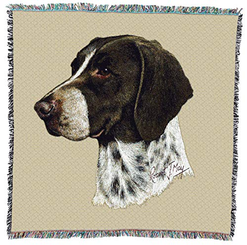 (Pure Country Weavers - German Shorthaired Pointer Woven Throw Blanket with Fringe Cotton. USA Size 54x54)