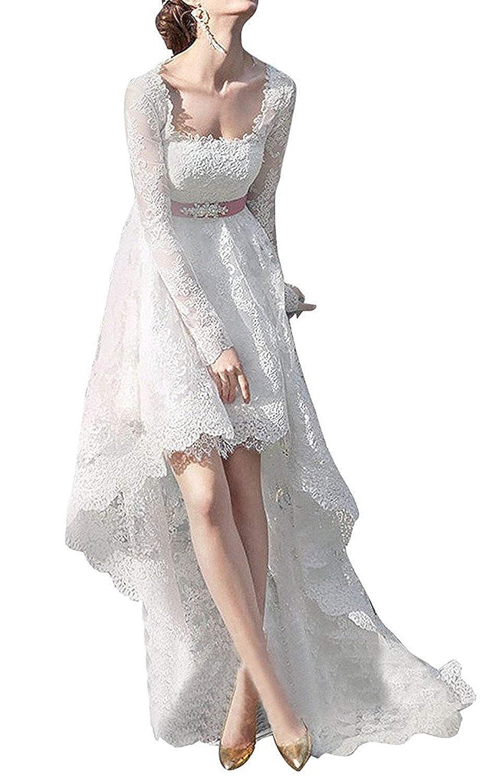 Ivory PromQueen Women's Lace Long Sleeve High Low Wedding Dresses Boho Long Bridal Dress
