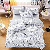BENBU High-end fashion bedding Silver branch flower bedding duvet cover four-piece suit, polyester printed quilt cover set twin/Queen/King size duvet cover bed sheet two pillowcases , king