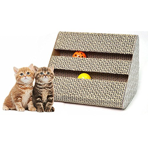 Efanr Cat Scratcher Cardboard with Bells Triangle Shape Funny Pet Toy Durable Recyclable Cardboard Straching Pad Training Exercise Play Toys for Kitty Cats