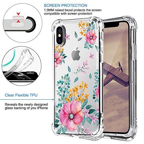 Funda iPhone X Carcasa Silicona Transparente Protector TPU Airbag Anti-choque Ultra-delgado Anti-arañazos Flores Case para Teléfono Apple iPhone 10 Caso Caja Flores 09