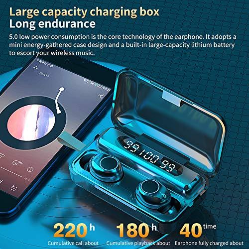 Écouteurs Bluetooth 5.0 Ecouteurs Sans Fil TWS Son Stéréo avec Étui de Chargement Portable Oreillette Bluetooth IPX7 Étanche Casque Sport avec Microphones Intégrés pour Android et iOS