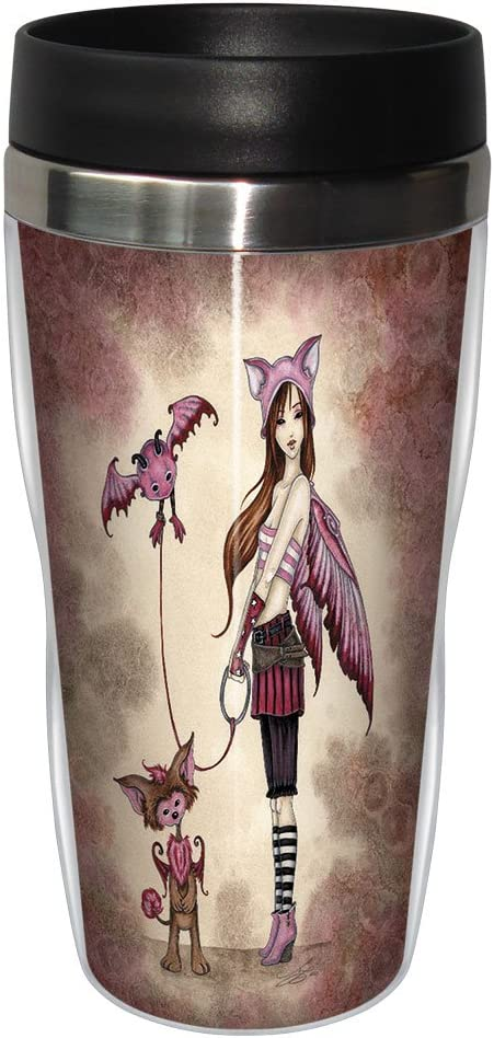 Tree-Free Greetings sg23567 Whimsical Phoebe's Beasties Fairy by Amy Brown, Sip 'N Go Stainless Steel Travel Tumbler, 16-Ounce, Multicolored