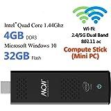 StickCherry-432 4GB Windows 10 Mini PC Compute Stick - Intel Quad Core 1.44GHZ Processor, 4GB DDR3L, 32GB SSD, Dual WiFi 2.4G/5G with 802.11 ac, HDMI/BT 4.0/USB3.0/Micro SD/4K