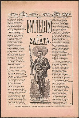 Poster Mexican Revolution - HistoricalFindings Photo: Entierro,Zapata,Emiliano,Death,Burial,Mexican Revolution,waltzes,J Posada,1914