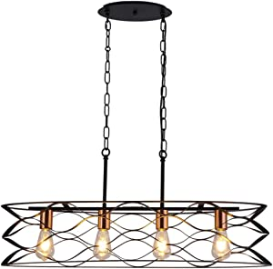 Island Lights Pendant for Kitchen Farmhouse Rustic Industrial Vintage Black Chandeliers Dinning Room 4-Light Hanging Lighting Fixtures