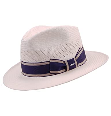 c129d091cf6c2 Genuine Panama Ventilated Crown Fedora Hat with Navy Band  Amazon.co.uk   Clothing