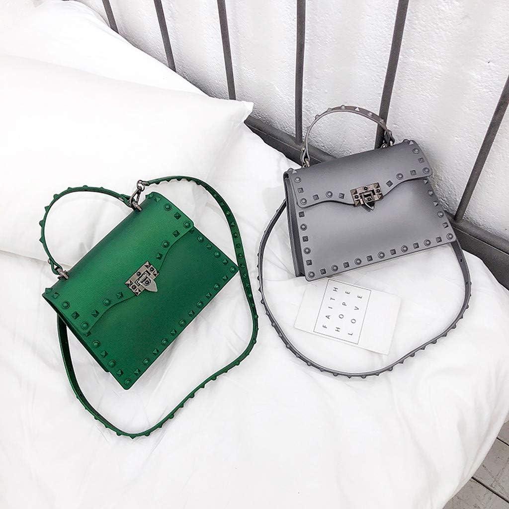QIUUE Womens Scrub Dull Polish Rivet Jelly Bag Single Shoulder Messenger Bags PVC Crossbody Bags Mobile Phone Bag