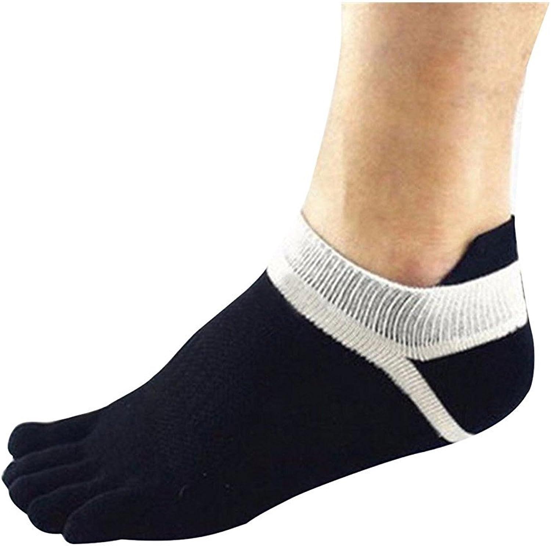 1Pair Comfortable Breathable MenS Cotton Toe Socks Sport Five Finger Socks Black LUQUAN Five Finger Socks