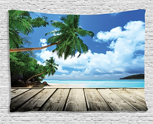 - Ambesonne Landscape Tapestry, Tropical Island Beach from Deck Pier by The Ocean with Palm Trees Exotic, Wall Hanging for Bedroom Living Room Dorm, 80 W X 60 L Inches, Brown Green