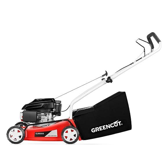 Greencut GLM660SX - Cortacésped con tracción manual con motor de gasolina de 139cc y 5cv y arranque manual Easy-start, con un ancho de corte de 407mm ...