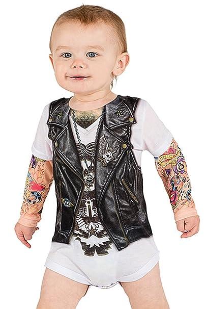 ddf37aa5f682 Amazon.com  Infant  Long Sleeve Tattoo Biker Costume Romper Infant ...