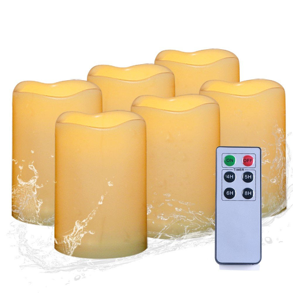 AMAGIC Flameless Pillar Candles With Remote Timer - Waterproof Outdoor Led Pillar Candles(H 5'' x D 3''), Battery Candles Set(Resin Plastic, Flickering Amber Glow, Pack Of 6)