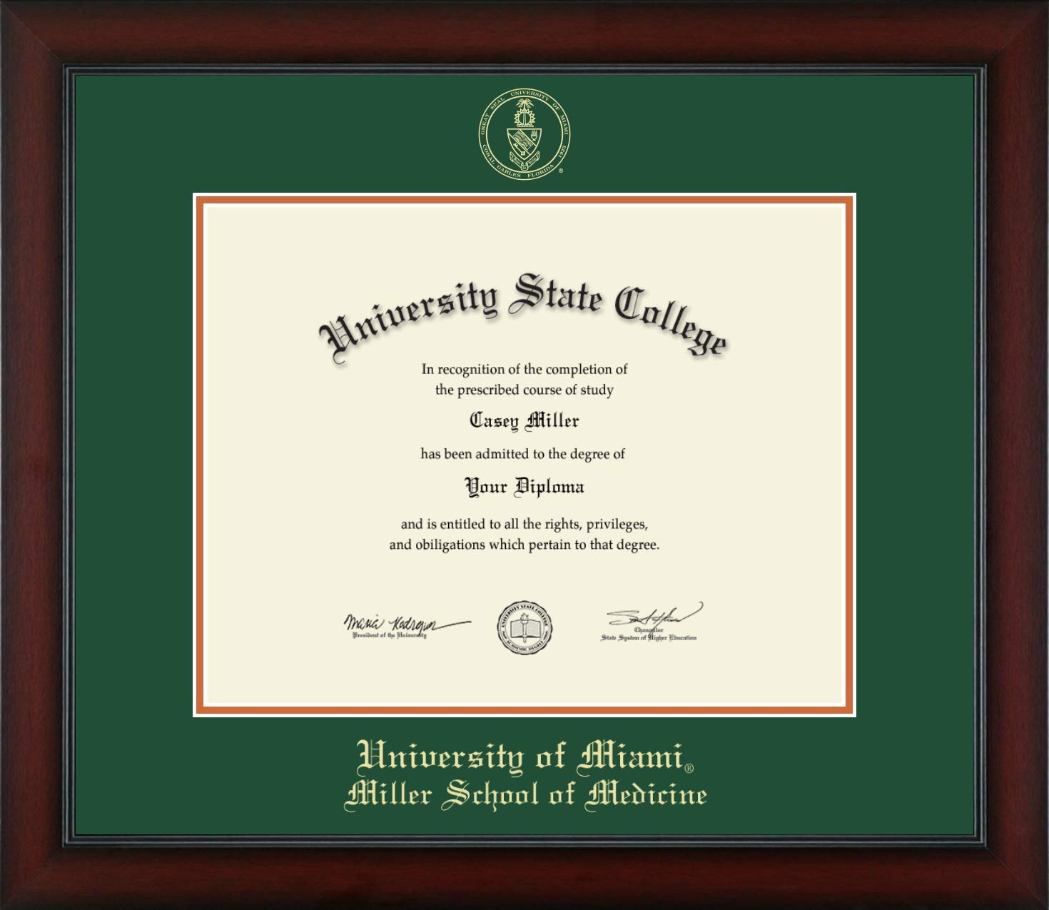 University of Miami Miller School of Medicine - Officially Licensed - Gold Embossed Diploma Frame - Diploma Size 14'' x 11''