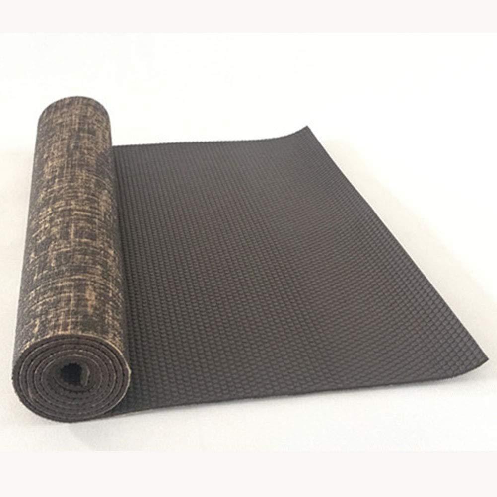 Cassiel Y PVC Pilates Yogamatte 0.5mm, umweltfreundliche Rutschfeste Jute Leinen Yogamatte, Länge 183cm breit 61cm