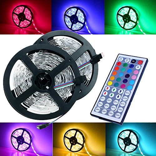 half off e645d ab19e Magic BEAM Led Strip Lighting Full Kit 10-Meter 32.8 Ft 5050 RGB 300 Leds  Flexible Color Changing LED Light Strips with Power Supply + 44-Key IR ...