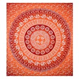 Orange Elephant Tapestry, Bohemian Wall Tapestry Throw for Bedroom, Hippie / Hippy Tapestry Wall Hanging, Indian Mandala Tapestry Bedding / Bedspreads, Queen Size
