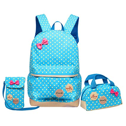 76ffb1ff95c3 JiaYou Girl Boy Cute Lunch Bag Purse/Pencil Bag School Backpack 3 Sets  (13.5L, Blue)