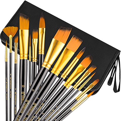 Brush Acrylic Handle - Art Paint Brush Set, UnityStar 15 PCS Long Handle Artist Brushes with Carrying Case & Pop-up Stand for Acrylic Watercolor Oil Paint Face Painting
