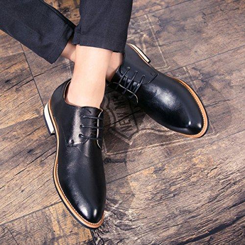 LYZGF Hommes Jeunes Saisons D'affaires Loisirs Mode Pointu Dentelle Chaussures En Cuir Black b94Oe7C