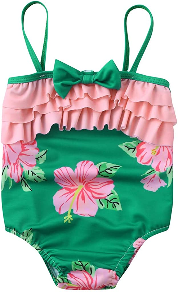 Summer Kids Baby Girl Suspenders Bow Floral Print Ruffles Romper Swimsuit Waymine
