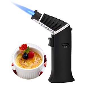 TOPKAY Butane Torch, Kitchen Blow Torch, Cooking Torch Lighter, Refillable Culinary Creme Brulee Torch with Safety Lock& Adjustable Flame for DIY, BBQ, Baking, Desserts and Soldering (Empty Gas)
