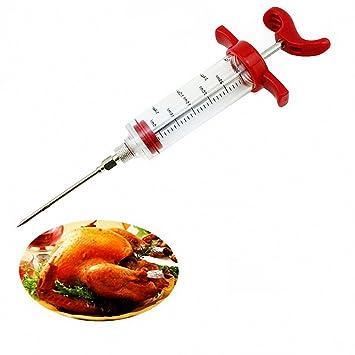 Adobo Carne Inyector, ComKit condimento sabor aguja jeringa inyector barbacoa Marinater herramienta para Turquía pollo aves de corral asados, carne sartén: ...