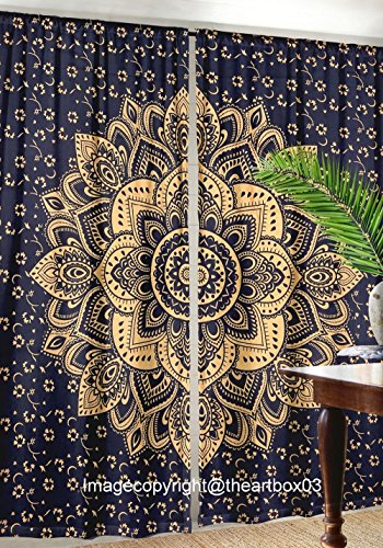 - THE ART BOX Blue and Gold Window Curtains Indian Wall Room Darkening Window Drapes 82x27 Each Panel Tapestry Curtains
