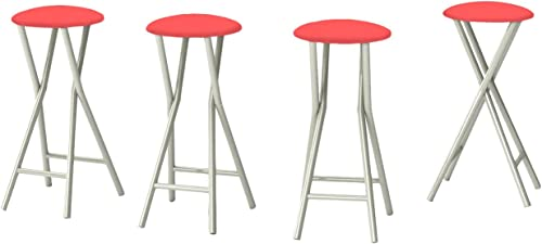Best of Times 13169W1327 Solid 30 Padded Bar Stools-Set of 4 , Pantone 357 Salmon