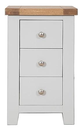 Super Canberra Grey Rustic Oak Top 3 Drawer Bedside Cabinet Solid Home Interior And Landscaping Ponolsignezvosmurscom