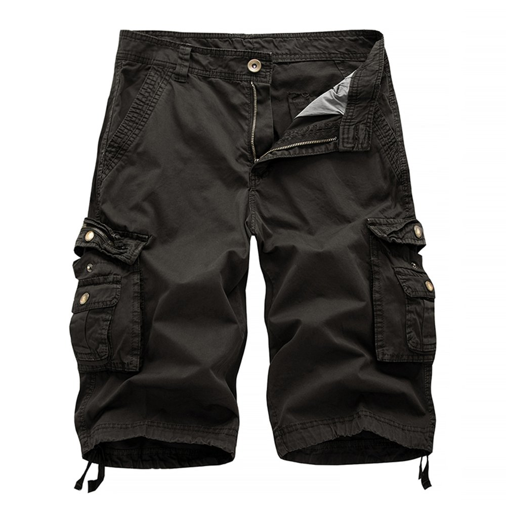 Hycsen Mens Cotton Relaxed Fit Outdoor Camouflage Camo Cargo Shorts-A082-Dark gray-34