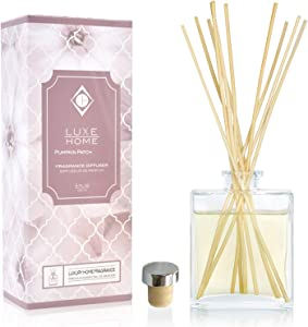 Luxe Home Pumpkin Patch Reed Diffuser Oil Gift Set with Cinnamon & Nutmeg Fragrance Notes | A Cozy Fall Fragrance for Your Home or Office