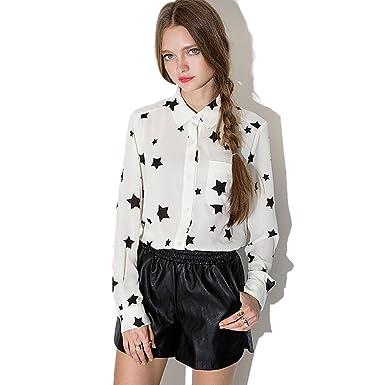 a8cf8b26797 Mlotus Korean version Women s Long Sleeve Star Print Chiffon Shirts Slim Blouse  XS