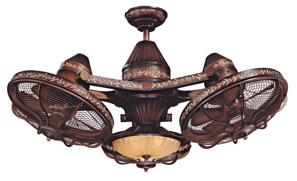 38 Esquire Rich Bronze Finish 3 Head Ceiling Fan Antique Fans With Lights And Remote Com