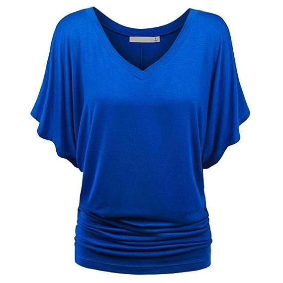 Happy-day Blusas Transparentes,Camisas Mujer,Tops Cortos Mujer,Mujer Sólida Camiseta