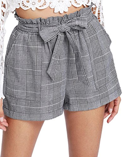 Elastic Waist Plaid Shorts - Romwe Women's Casual Summer Elastic Waist Shorts Plaid Pocket Shorts Grey M