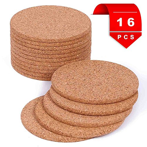 """Natural Cork Coasters With Round Edge for Drinks - Premium 4"""" 16pc Large Rustic Design Prevents Spill From Hot Coffee & Cold Drinking Beverage"""