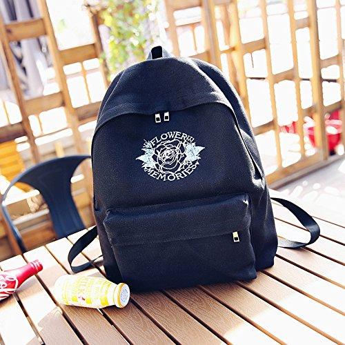 BAGEHUA 女の子キャンバスバックパックバックパックの All-Match キャンパスフォークスタイルの刺繍のファッションバッグ(高 40 cm 長さ 32 cm の厚さ 12 cm ) B075FTQ4F4 Black Flower