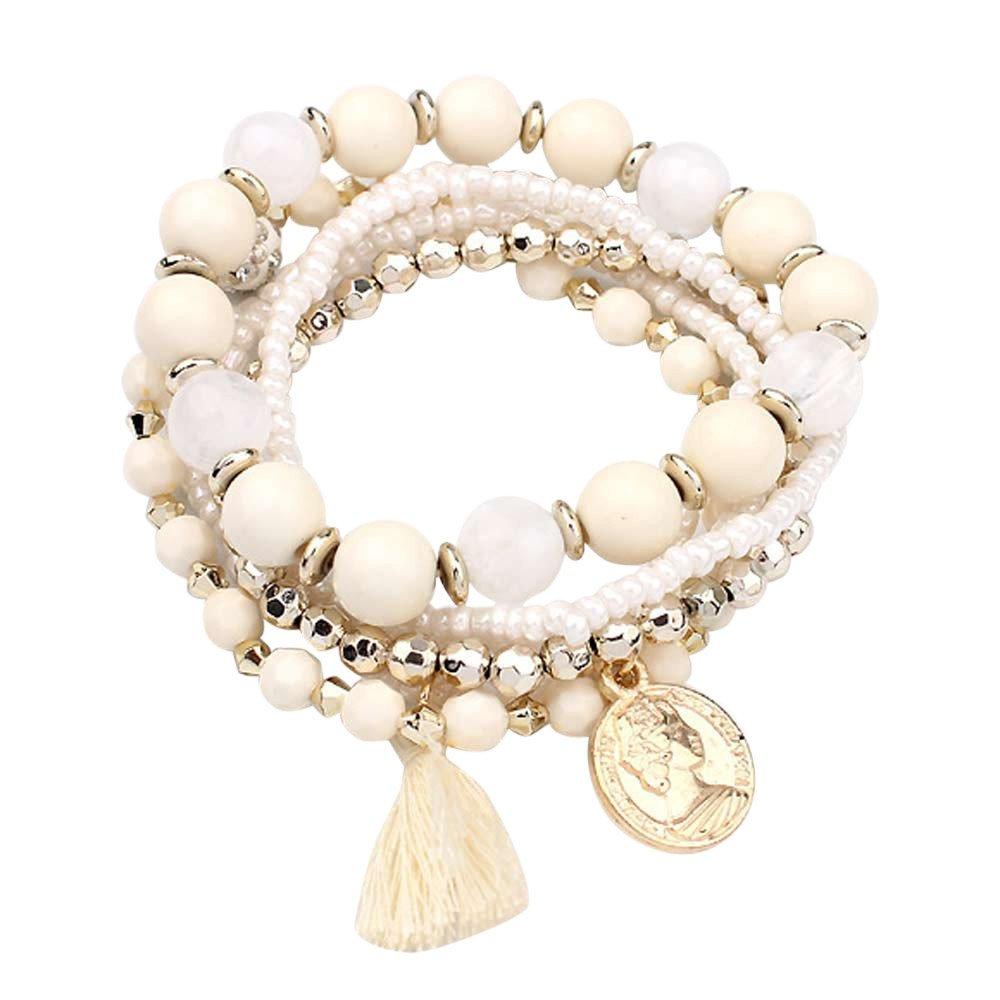 Yaseking Tassels Bracelets, Fringed Multilayer Beads Bracelet Women Fashion Bangle(Beige)