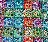 Glass Mosaic Tiles - Van Gogh Swirls Blue Orange Green Blue Pink 1'' Squares