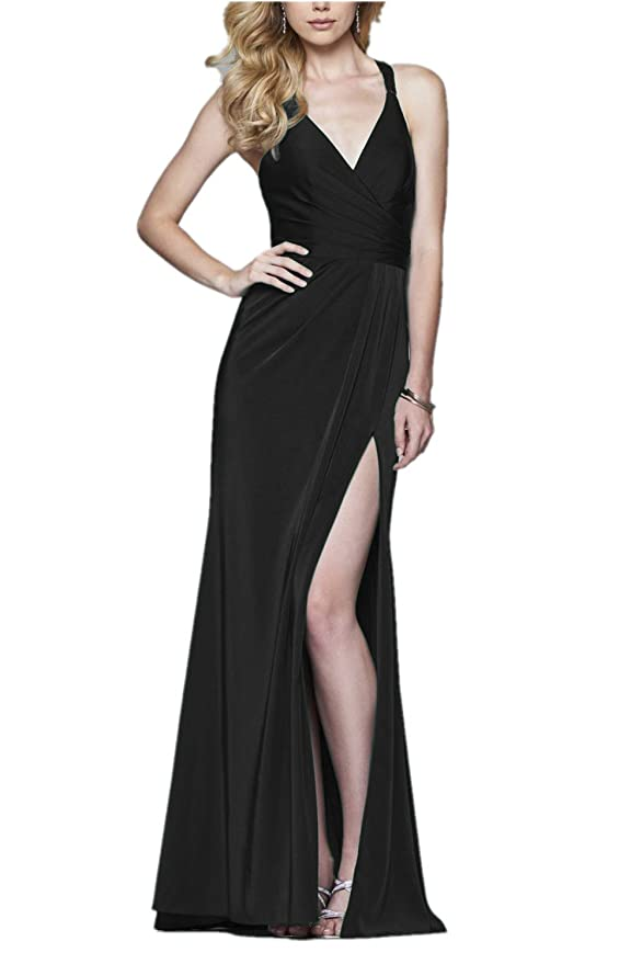 Promworld Womens Beaded Straps Mermaid Evening Gowns With Slit Prom Dresses: Amazon.co.uk: Clothing