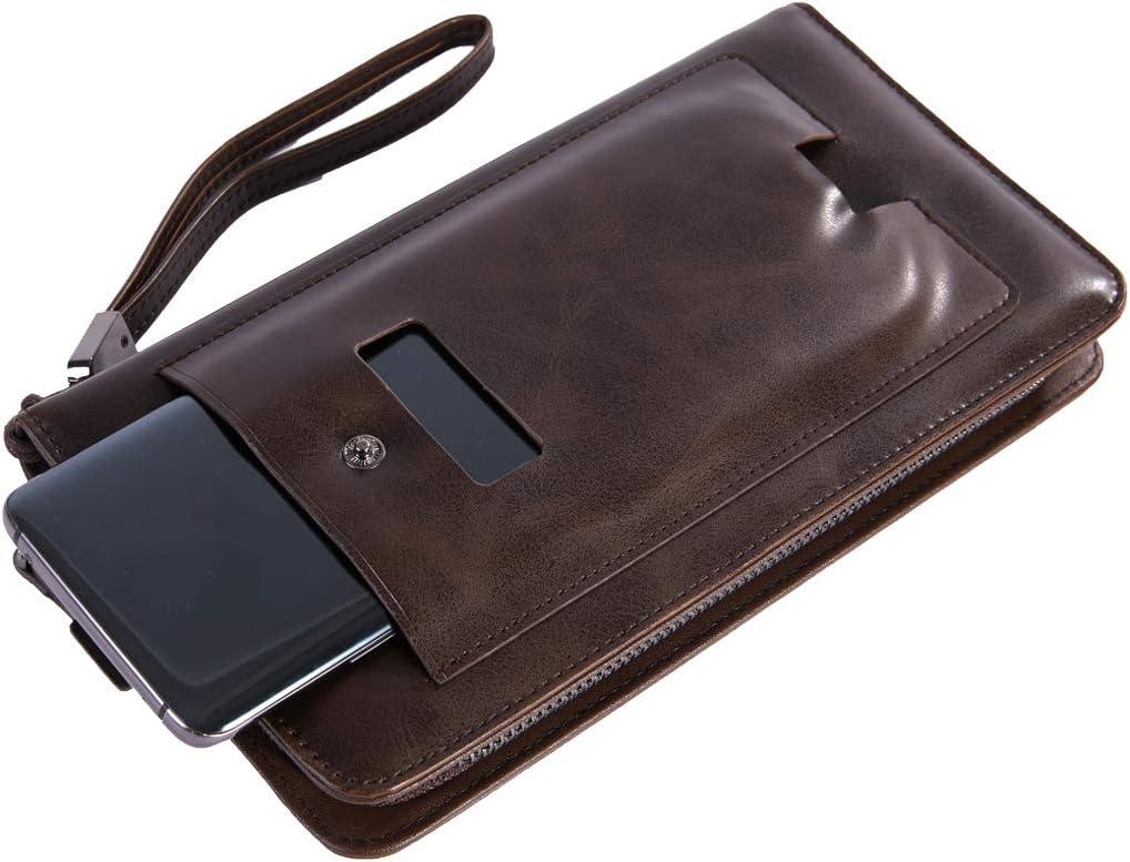 RUIXFLR Elegante Billetera para Hombre, Billetera Delgada, Billetera De Cuero con Bloqueo RFID, Billeteras Personalizadas para Hombres con Bolsillo con Cremallera, Compartimento para Billetes Regalo