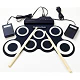 Portable Electronic Drum Foldable Roll up Drum Pad Kits Musical Entertainment Practice Instrument with 2 Foot Pedals and Drum Sticks for Beginners and Children